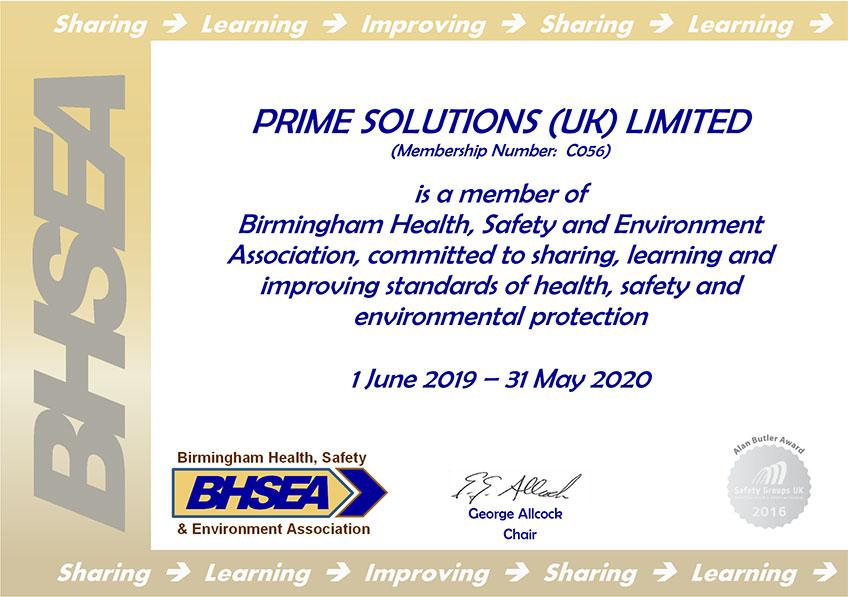 BHSEA Certificate - Prime Solutions