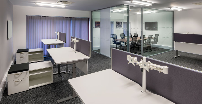 Glass partition in office refurbishment
