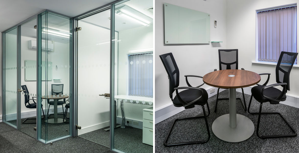 Office breakout room glass partition