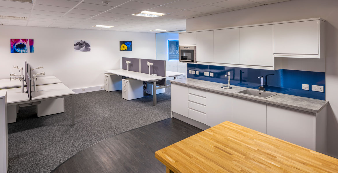 Office Kitchen Refurbishment with Blue Splashback