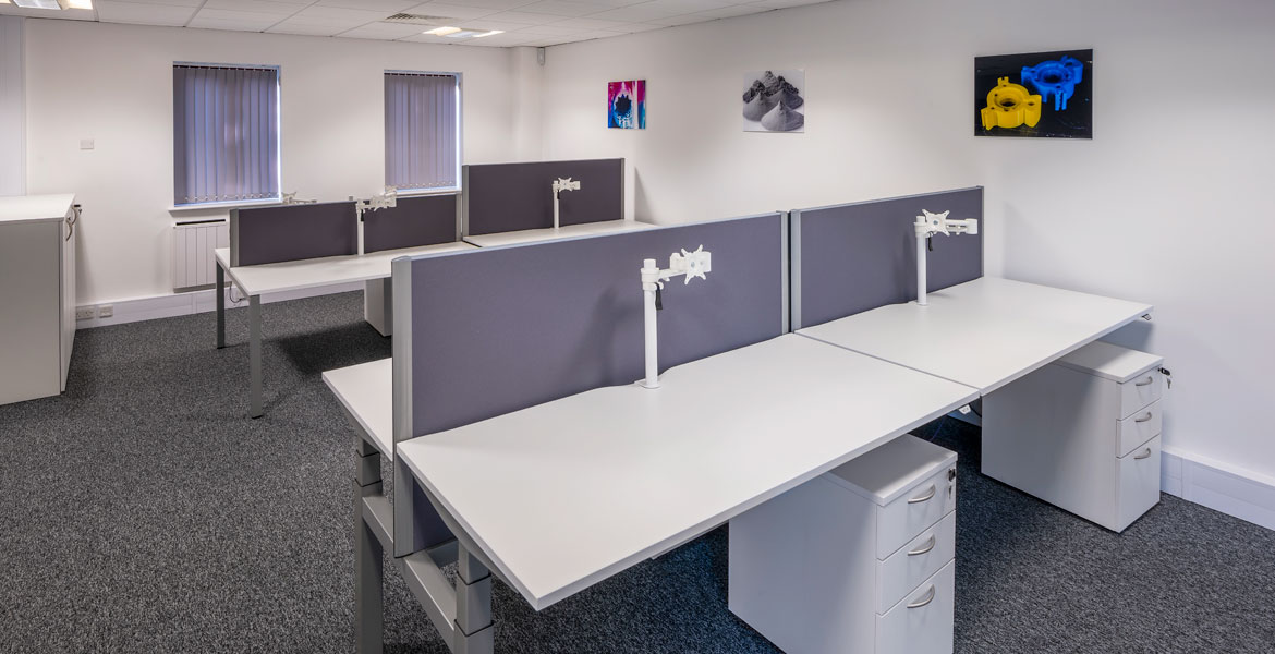 White Desking with Blue Desk Screens & Under Desk Storage Unit